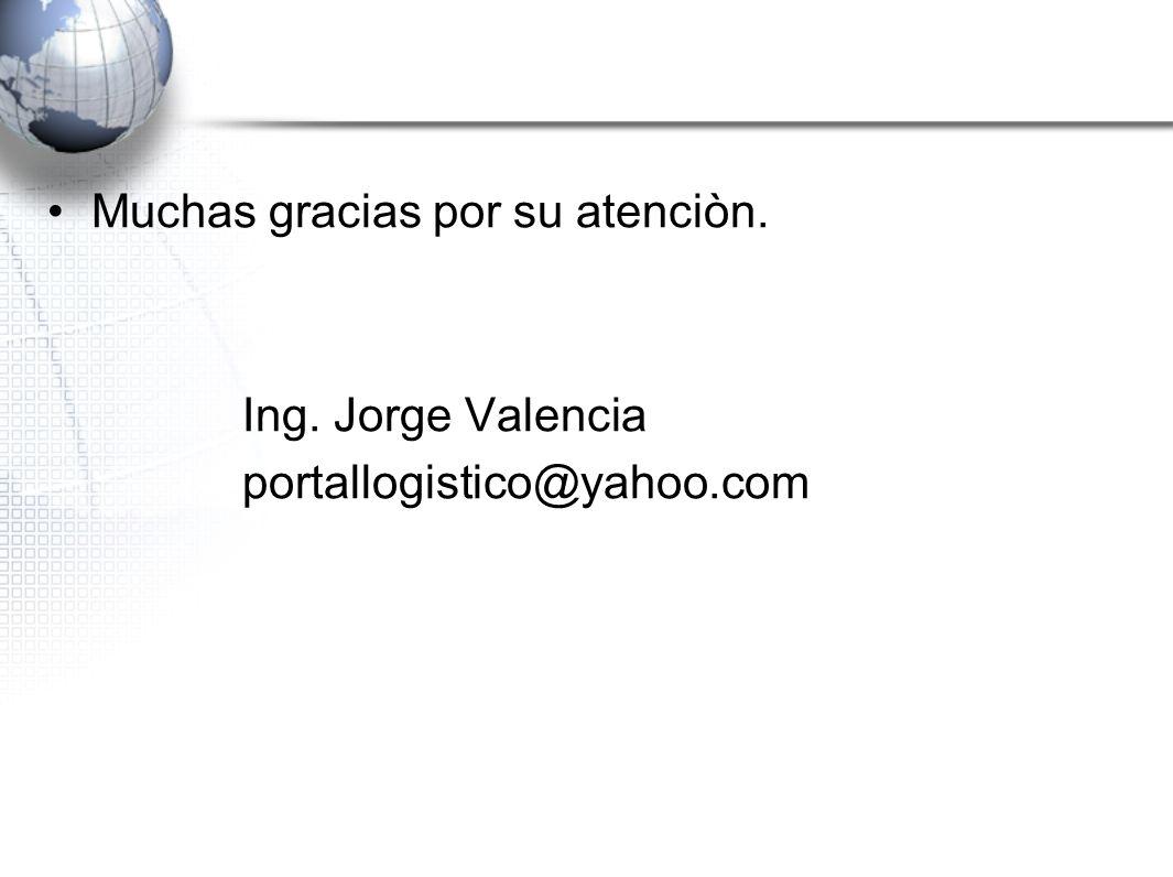 Muchas gracias por su atenciòn. Ing. Jorge Valencia portallogistico@yahoo.com