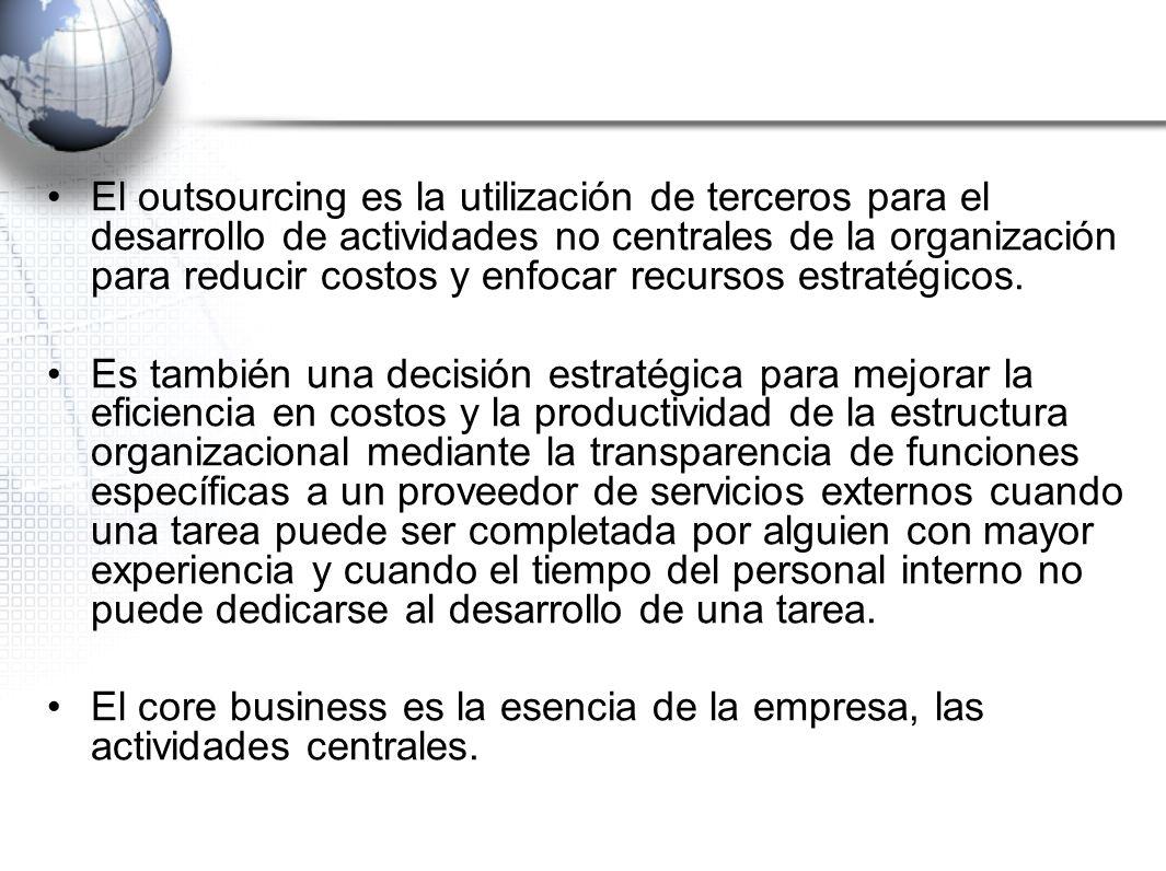El outsourcing es la utilización de terceros para el desarrollo de actividades no centrales de la organización para reducir costos y enfocar recursos
