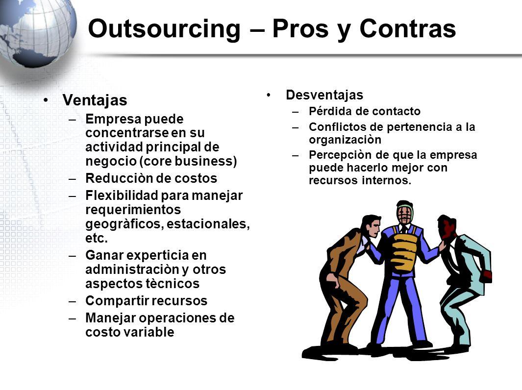 Outsourcing – Pros y Contras Ventajas –Empresa puede concentrarse en su actividad principal de negocio (core business) –Reducciòn de costos –Flexibili