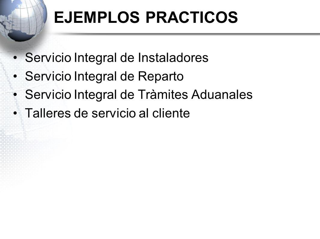 EJEMPLOS PRACTICOS Servicio Integral de Instaladores Servicio Integral de Reparto Servicio Integral de Tràmites Aduanales Talleres de servicio al clie