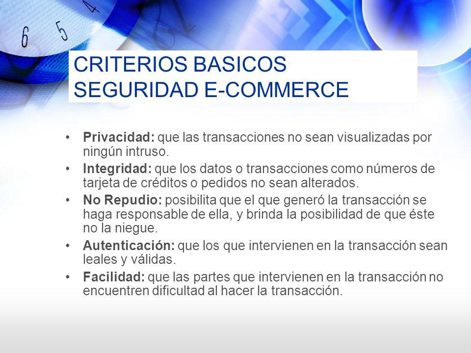 CRITERIOS BASICOS SEGURIDAD E-COMMERCE Privacidad: que las transacciones no sean visualizadas por ningún intruso. Integridad: que los datos o transacc