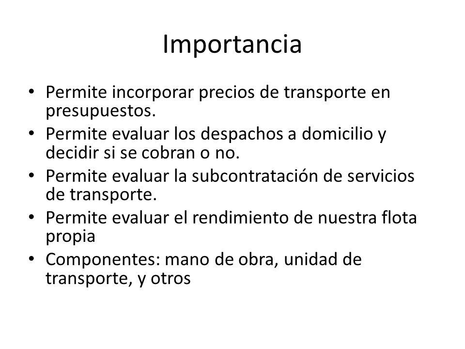 Importancia Permite incorporar precios de transporte en presupuestos. Permite evaluar los despachos a domicilio y decidir si se cobran o no. Permite e