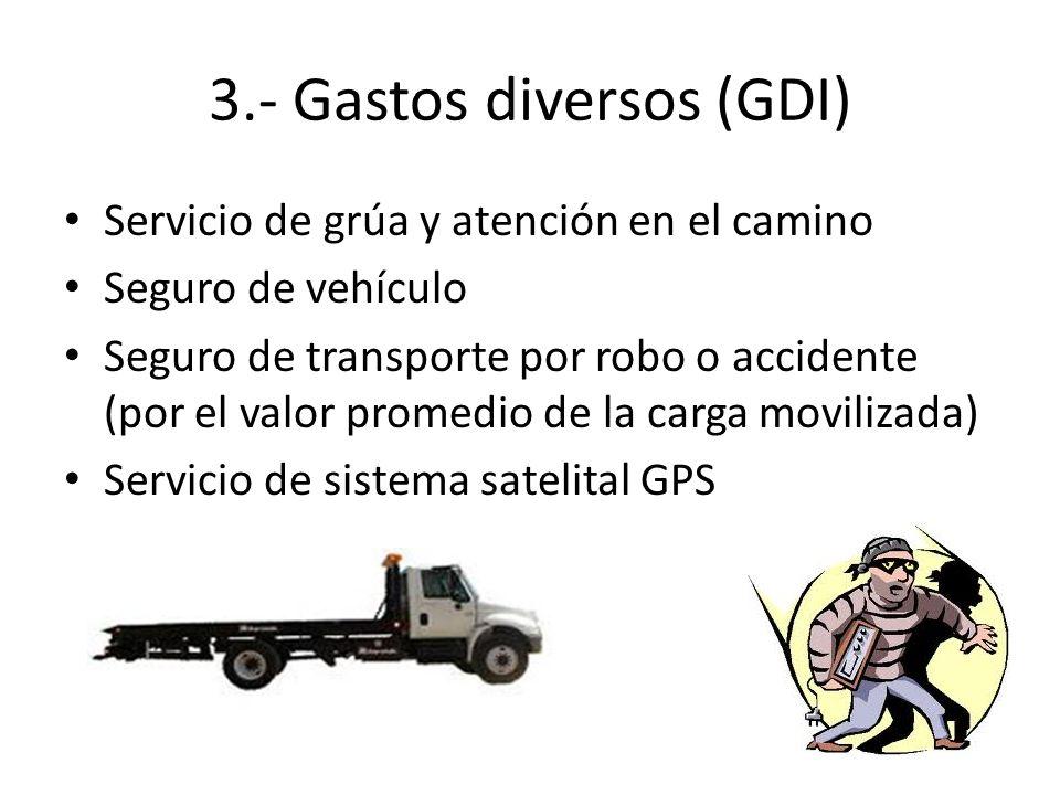 3.- Gastos diversos (GDI) Servicio de grúa y atención en el camino Seguro de vehículo Seguro de transporte por robo o accidente (por el valor promedio