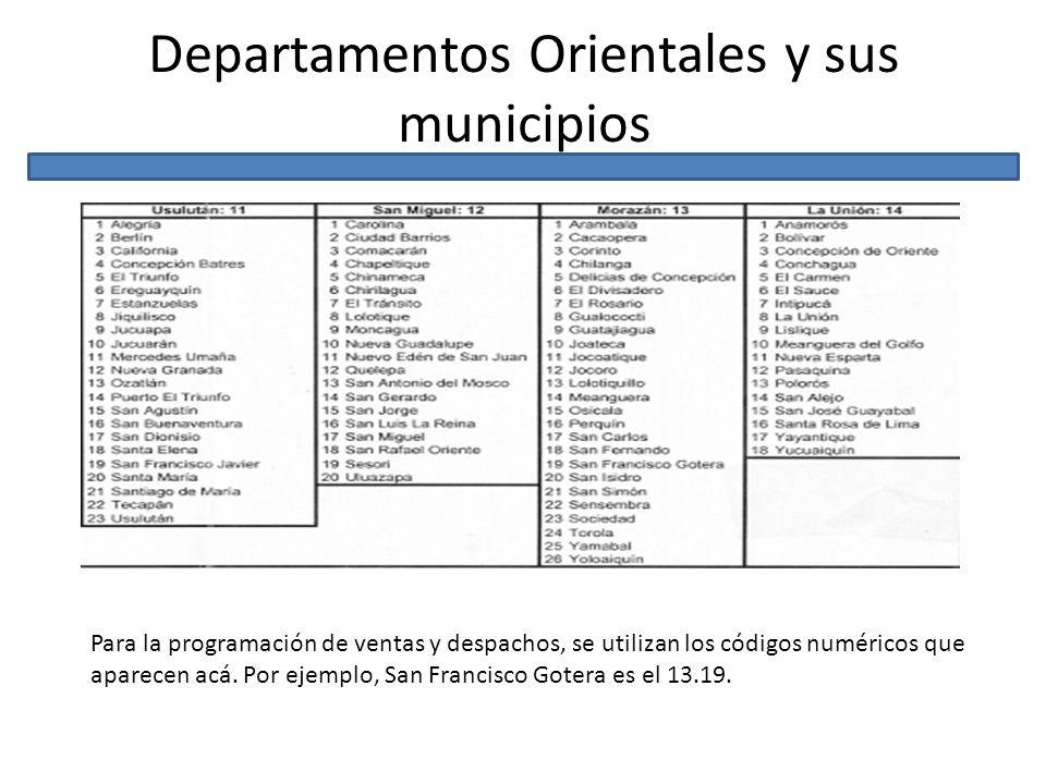 Departamentos Orientales y sus municipios Para la programación de ventas y despachos, se utilizan los códigos numéricos que aparecen acá. Por ejemplo,