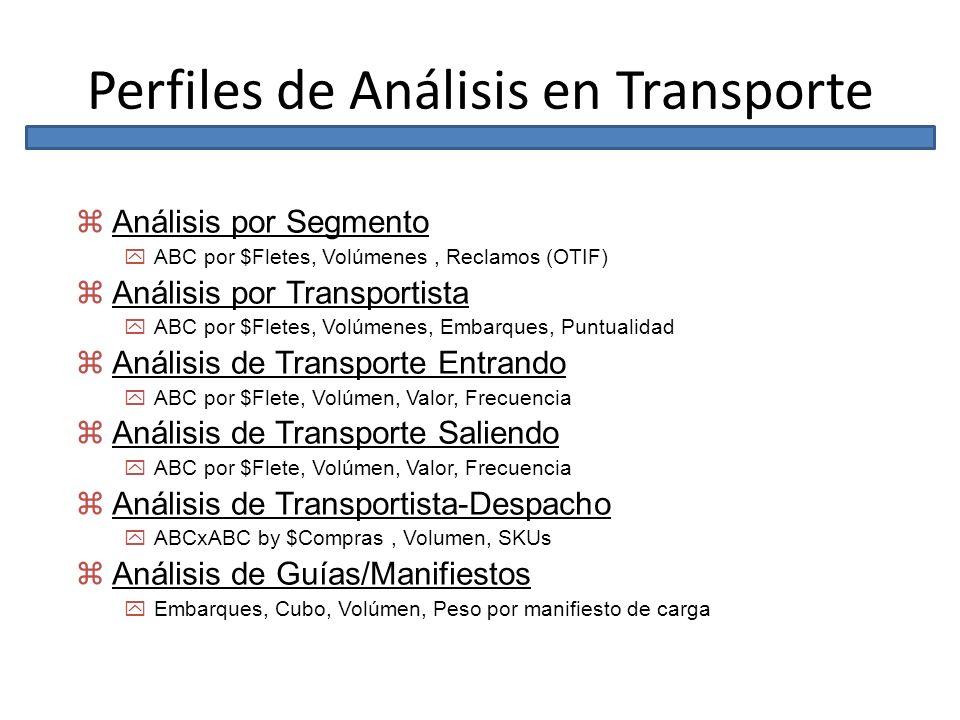 Perfiles de Análisis en Transporte zAnálisis por Segmento yABC por $Fletes, Volúmenes, Reclamos (OTIF) zAnálisis por Transportista yABC por $Fletes, V
