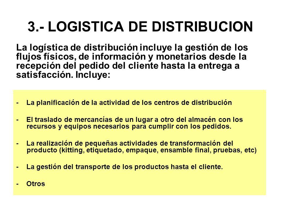 3.- LOGISTICA DE DISTRIBUCION - La planificación de la actividad de los centros de distribución - El traslado de mercancías de un lugar a otro del alm
