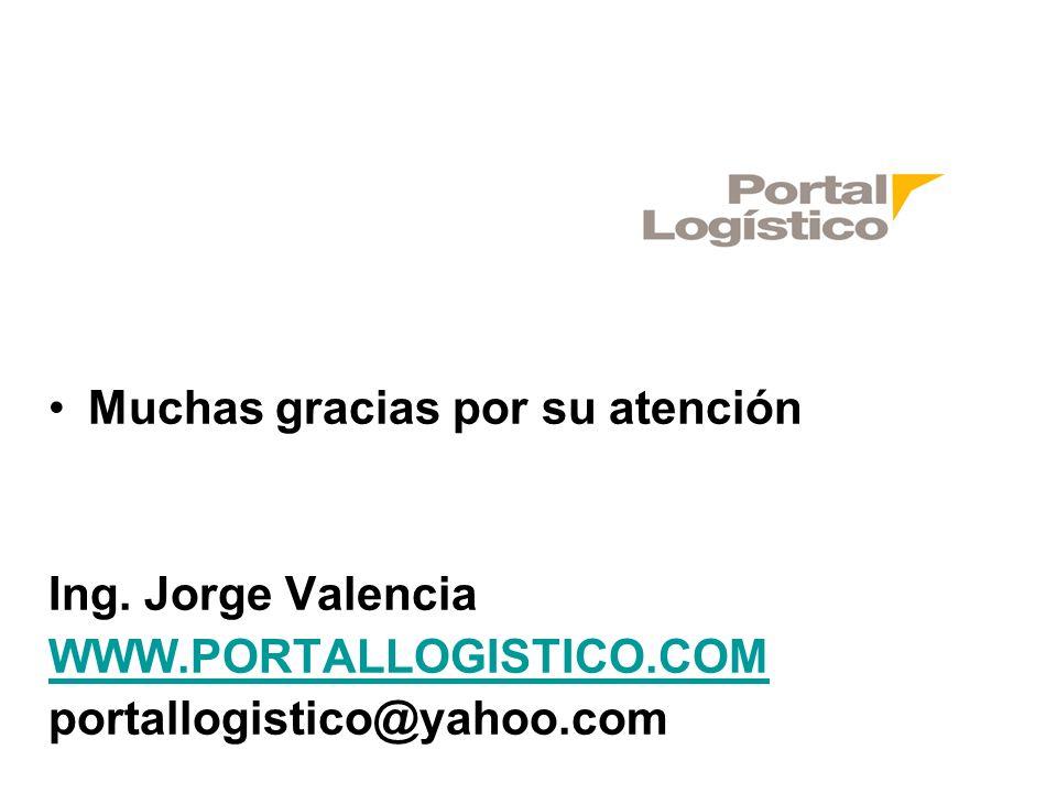 Muchas gracias por su atención Ing. Jorge Valencia WWW.PORTALLOGISTICO.COM portallogistico@yahoo.com