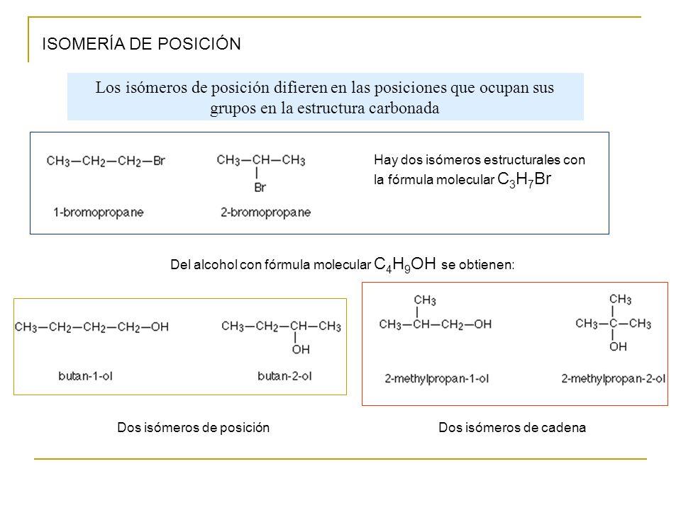 ISOMERÍA DE POSICIÓN Hay dos isómeros estructurales con la fórmula molecular C 3 H 7 Br Del alcohol con fórmula molecular C 4 H 9 OH se obtienen: Dos