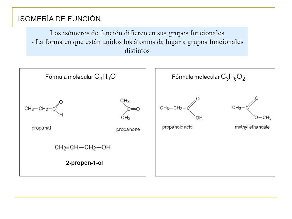 ISOMERÍA DE FUNCIÓN Fórmula molecular C 3 H 6 O 2-propen-1-ol Los isómeros de función difieren en sus grupos funcionales - La forma en que están unido