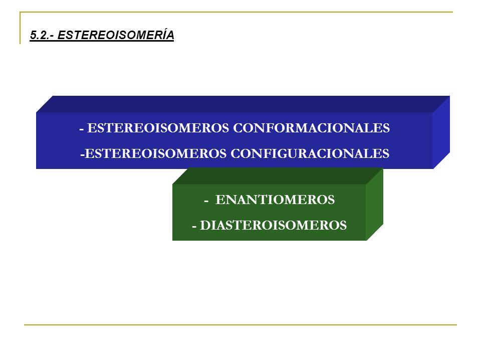 5.2.- ESTEREOISOMERÍA - ESTEREOISOMEROS CONFORMACIONALES -ESTEREOISOMEROS CONFIGURACIONALES - ENANTIOMEROS - DIASTEROISOMEROS