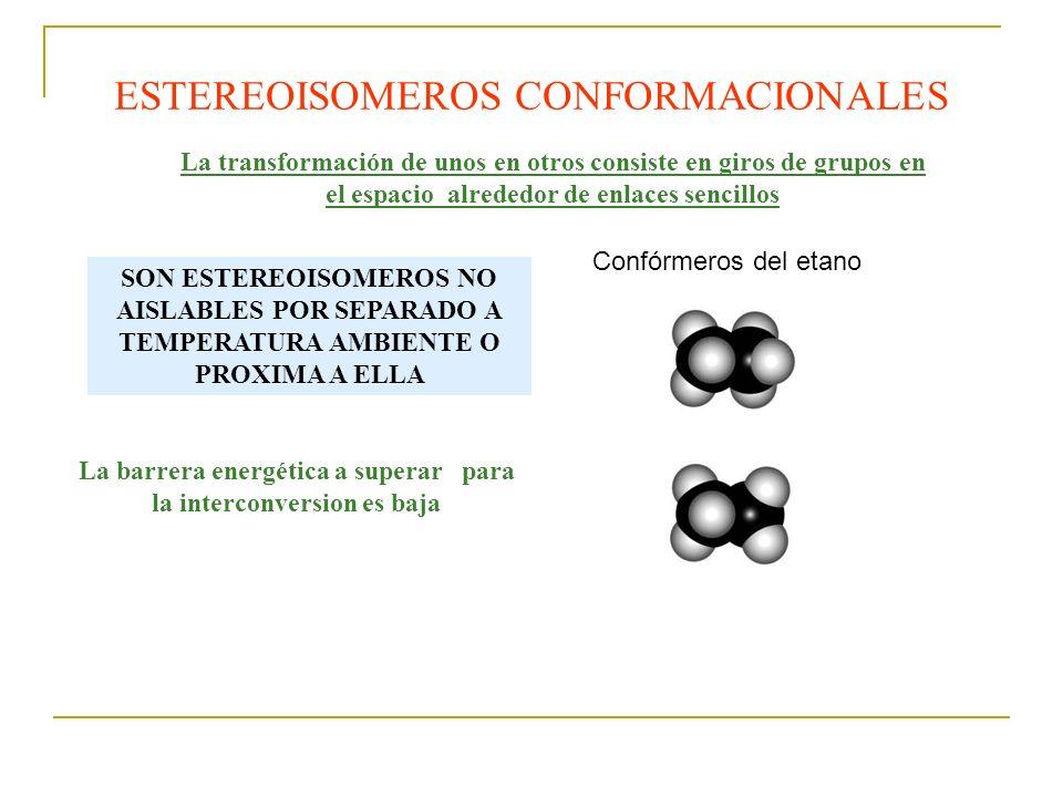 La transformación de unos en otros consiste en giros de grupos en el espacio alrededor de enlaces sencillos ESTEREOISOMEROS CONFORMACIONALES Confórmer
