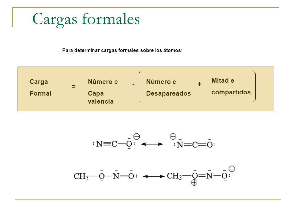 Cargas formales Para determinar cargas formales sobre los átomos: Carga Formal = Número e Capa valencia - Número e Desapareados + Mitad e compartidos