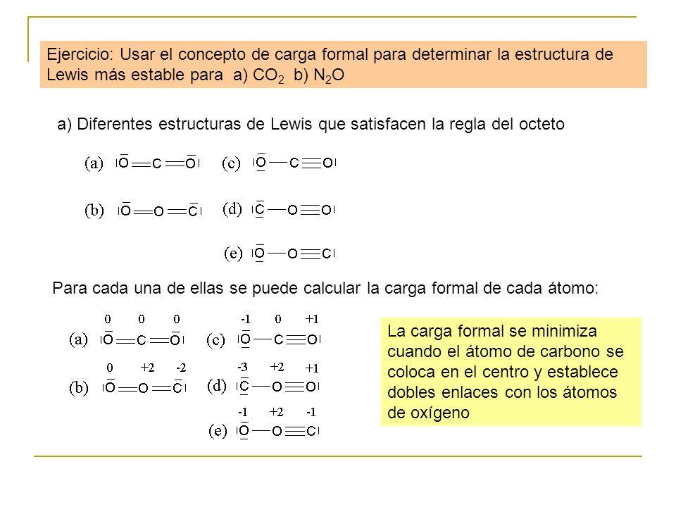Ejercicio: Usar el concepto de carga formal para determinar la estructura de Lewis más estable para a) CO 2 b) N 2 O a) Diferentes estructuras de Lewi