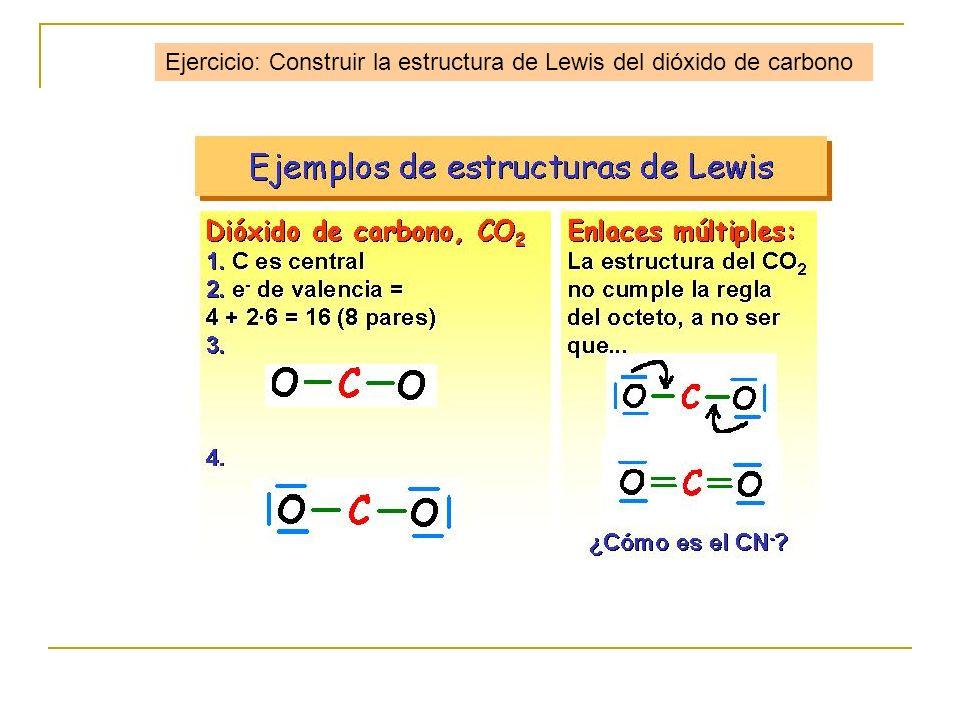 Ejercicio: Construir la estructura de Lewis del dióxido de carbono