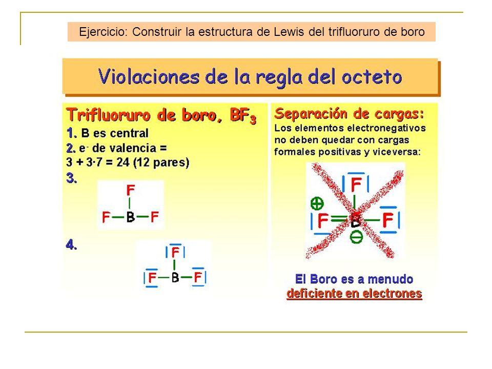 Ejercicio: Construir la estructura de Lewis del trifluoruro de boro