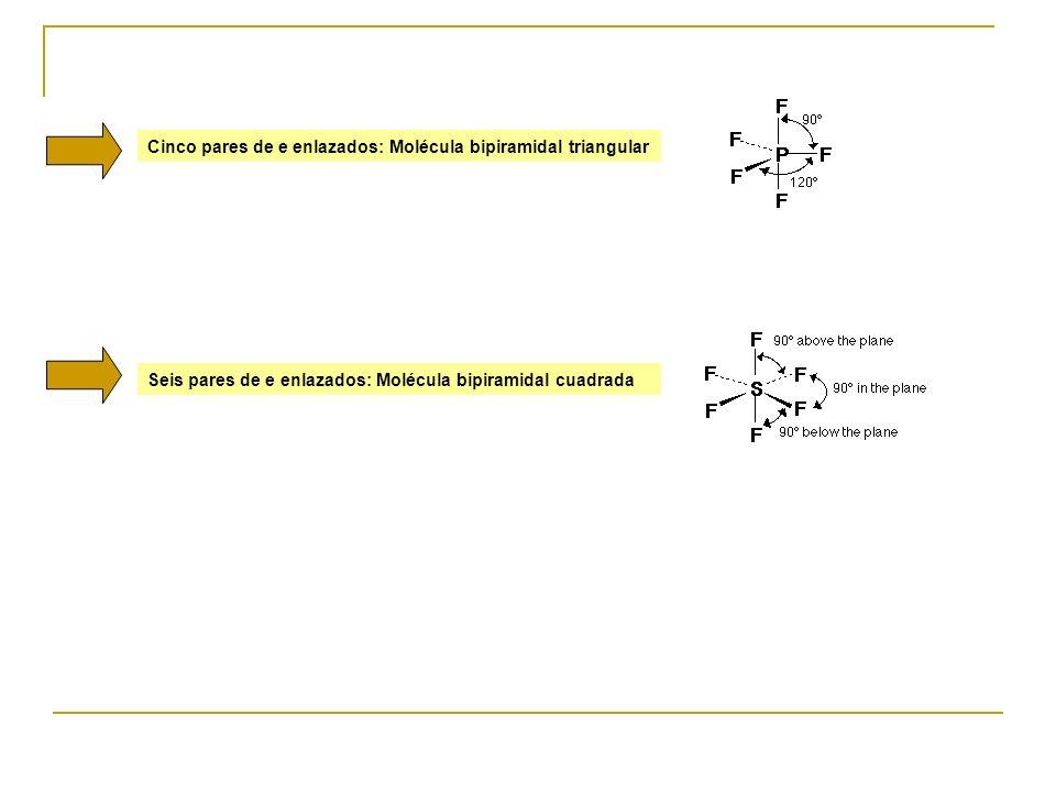 Cinco pares de e enlazados: Molécula bipiramidal triangular Seis pares de e enlazados: Molécula bipiramidal cuadrada