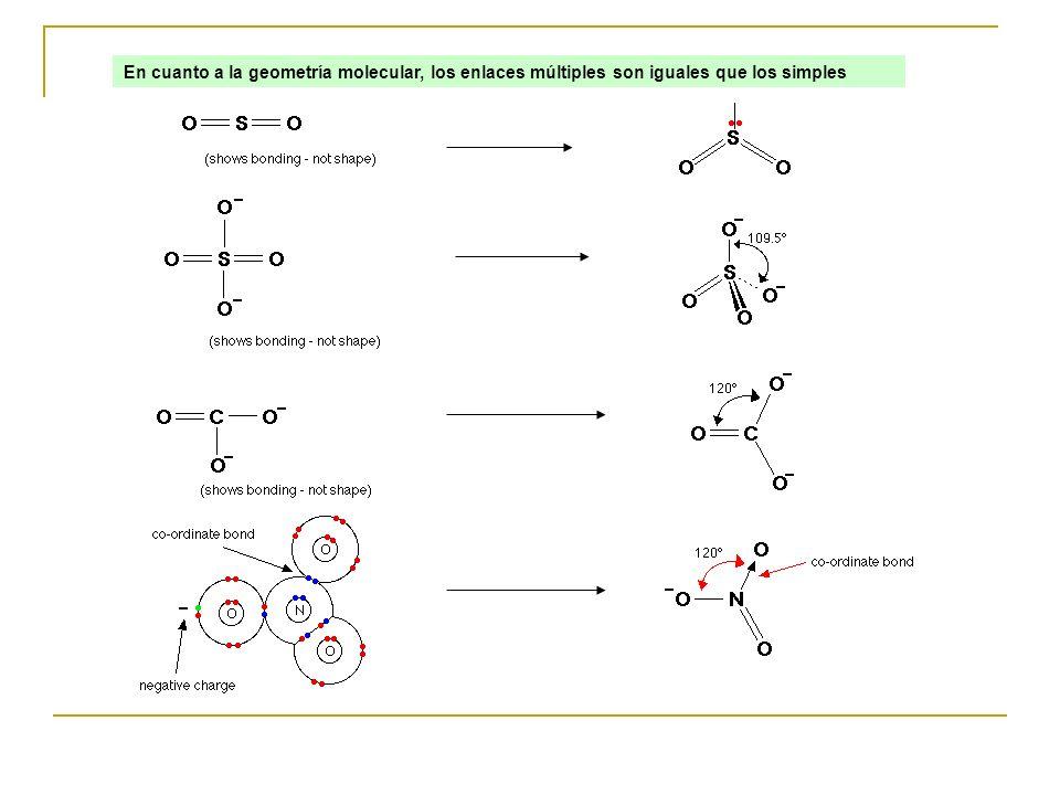 En cuanto a la geometría molecular, los enlaces múltiples son iguales que los simples