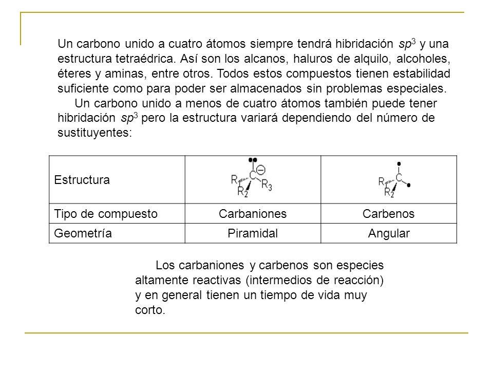 Un carbono unido a cuatro átomos siempre tendrá hibridación sp 3 y una estructura tetraédrica. Así son los alcanos, haluros de alquilo, alcoholes, éte