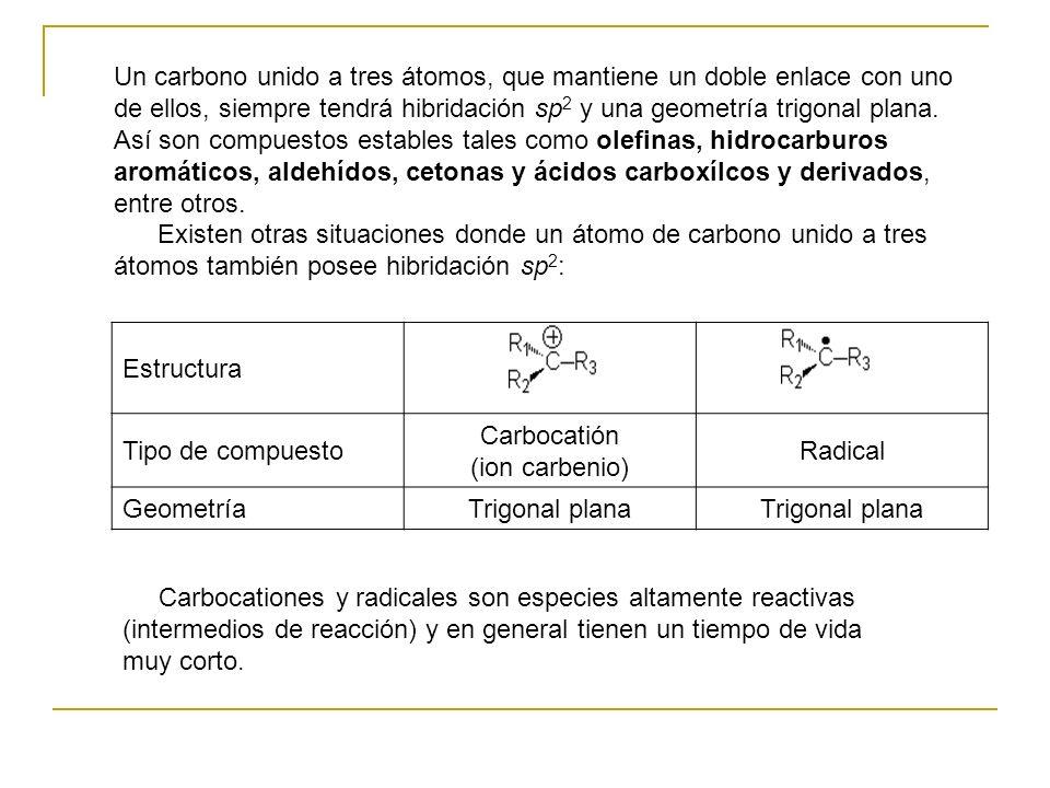 Un carbono unido a tres átomos, que mantiene un doble enlace con uno de ellos, siempre tendrá hibridación sp 2 y una geometría trigonal plana. Así son