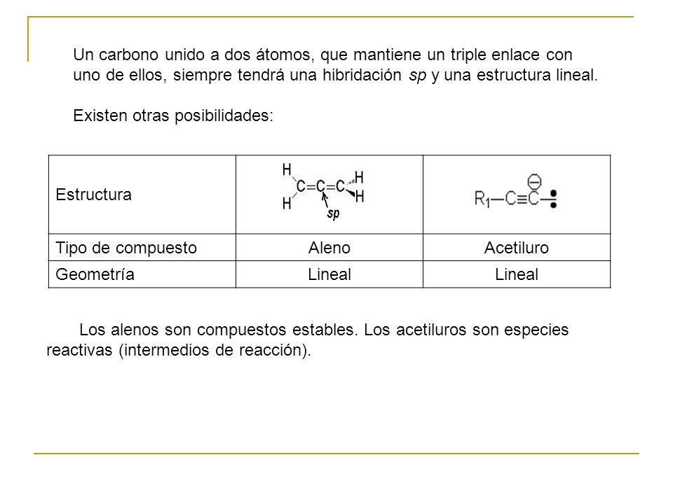 Un carbono unido a dos átomos, que mantiene un triple enlace con uno de ellos, siempre tendrá una hibridación sp y una estructura lineal. Existen otra