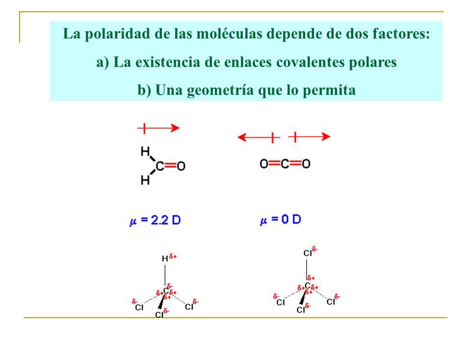 La polaridad de las moléculas depende de dos factores: a) La existencia de enlaces covalentes polares b) Una geometría que lo permita