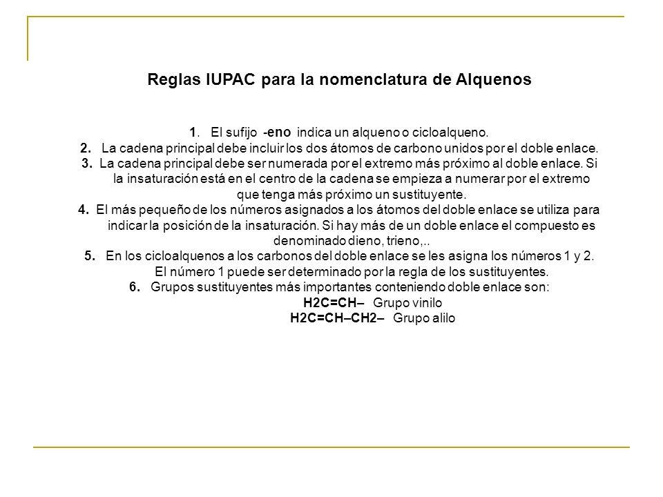 Reglas IUPAC para la nomenclatura de Alquenos 1. El sufijo -eno indica un alqueno o cicloalqueno. 2. La cadena principal debe incluir los dos átomos d