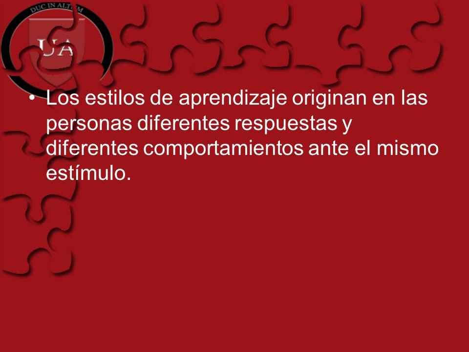 Los estilos de aprendizaje originan en las personas diferentes respuestas y diferentes comportamientos ante el mismo estímulo.