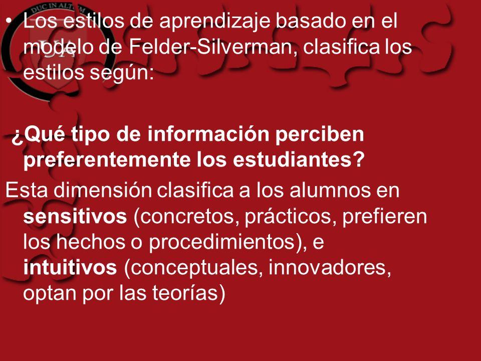 Los estilos de aprendizaje basado en el modelo de Felder-Silverman, clasifica los estilos según: ¿Qué tipo de información perciben preferentemente los estudiantes.