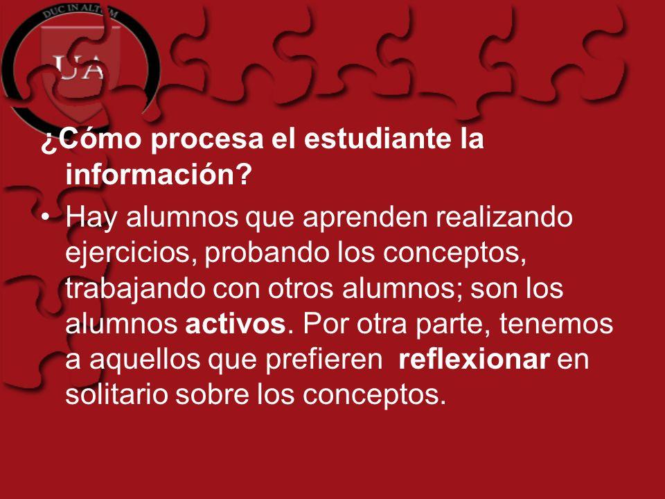 ¿Cómo procesa el estudiante la información.