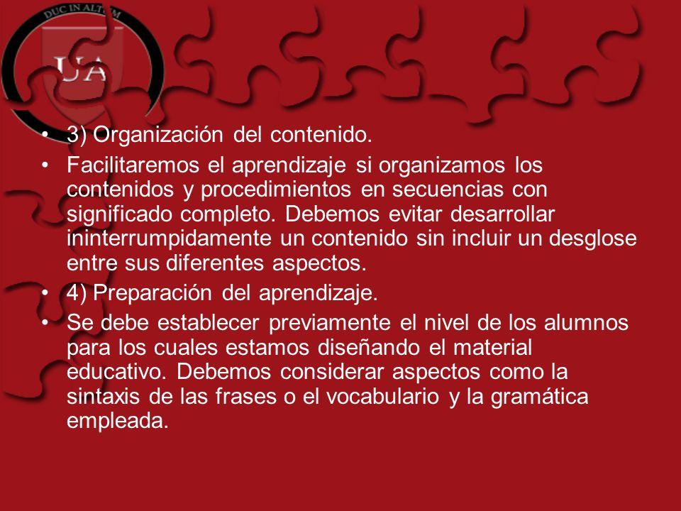 3) Organización del contenido.