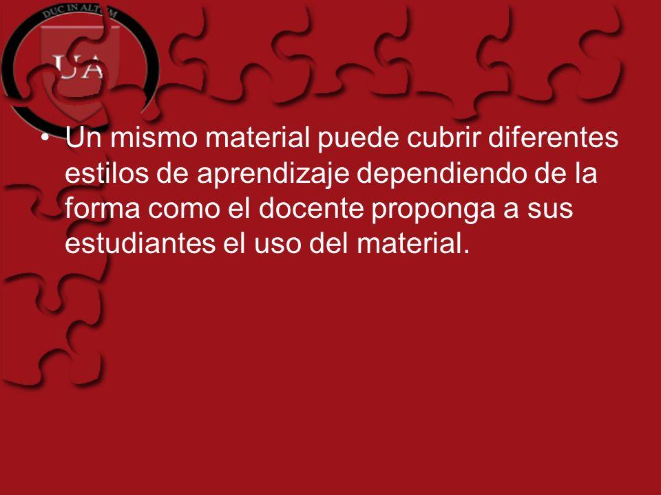 Un mismo material puede cubrir diferentes estilos de aprendizaje dependiendo de la forma como el docente proponga a sus estudiantes el uso del material.
