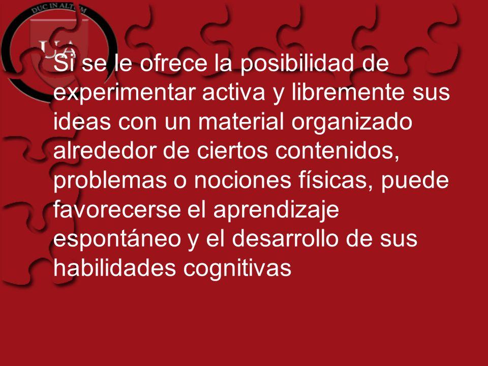 Si se le ofrece la posibilidad de experimentar activa y libremente sus ideas con un material organizado alrededor de ciertos contenidos, problemas o n