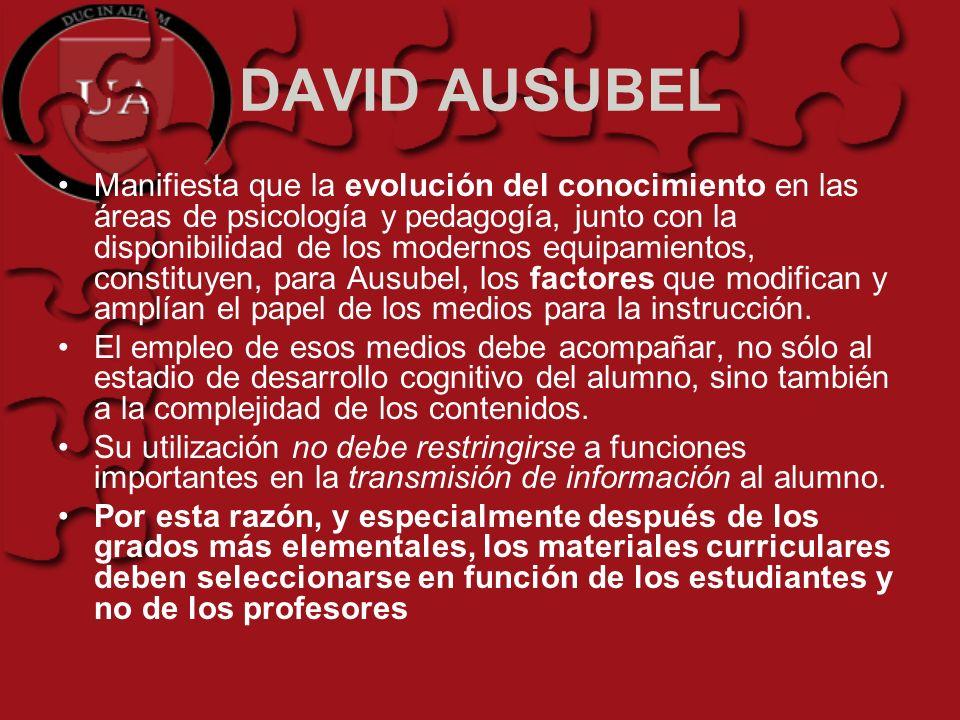 DAVID AUSUBEL Manifiesta que la evolución del conocimiento en las áreas de psicología y pedagogía, junto con la disponibilidad de los modernos equipam