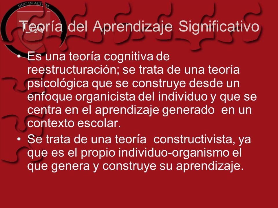 Teoría del Aprendizaje Significativo Es una teoría cognitiva de reestructuración; se trata de una teoría psicológica que se construye desde un enfoque