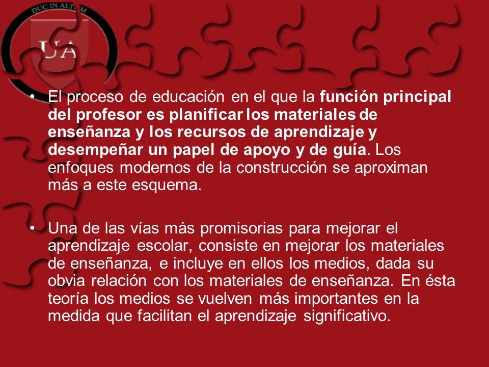 El proceso de educación en el que la función principal del profesor es planificar los materiales de enseñanza y los recursos de aprendizaje y desempeñ
