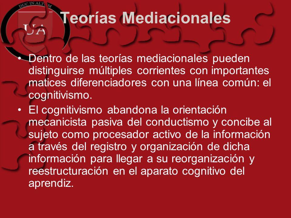 Teorías Mediacionales Dentro de las teorías mediacionales pueden distinguirse múltiples corrientes con importantes matices diferenciadores con una lín