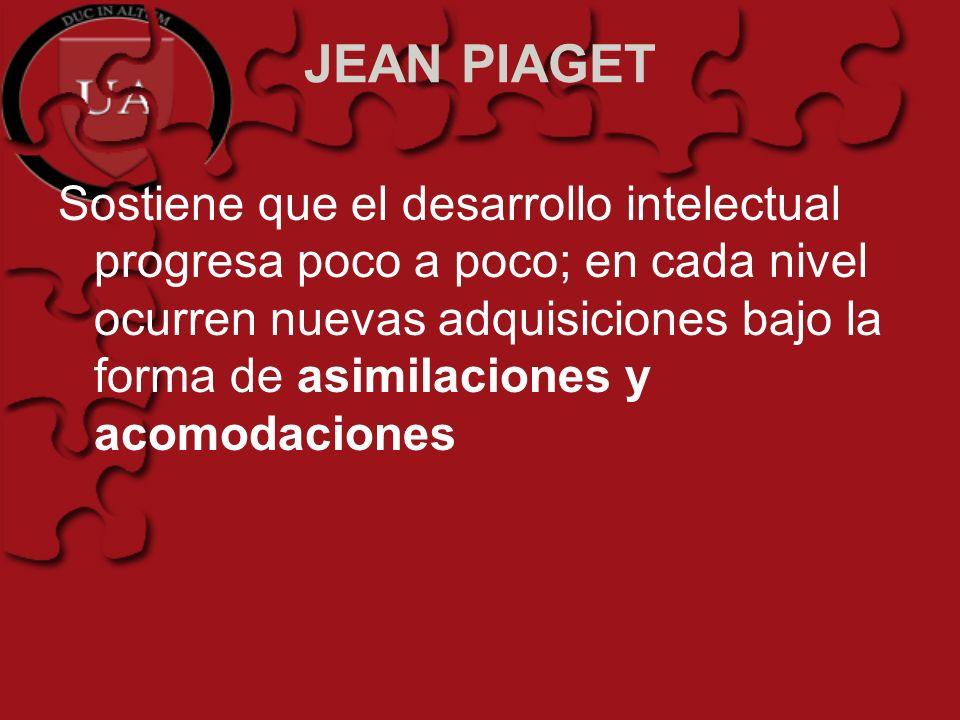 JEAN PIAGET Sostiene que el desarrollo intelectual progresa poco a poco; en cada nivel ocurren nuevas adquisiciones bajo la forma de asimilaciones y a