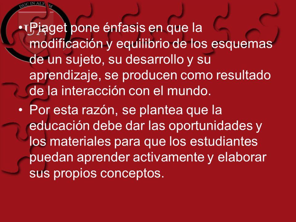 Piaget pone énfasis en que la modificación y equilibrio de los esquemas de un sujeto, su desarrollo y su aprendizaje, se producen como resultado de la