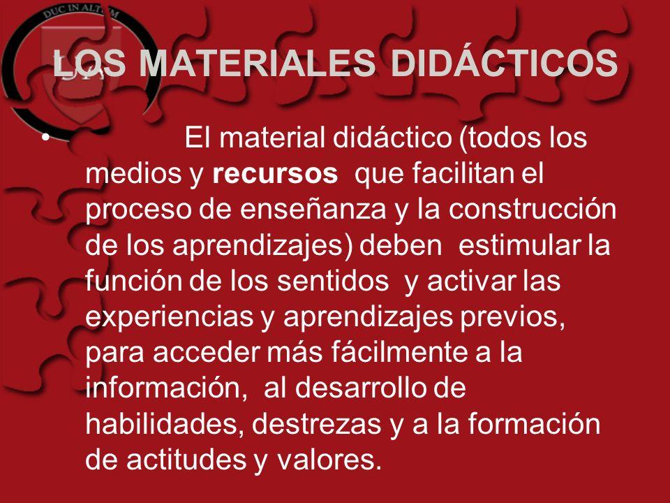 LOS MATERIALES DIDÁCTICOS El material didáctico (todos los medios y recursos que facilitan el proceso de enseñanza y la construcción de los aprendizaj
