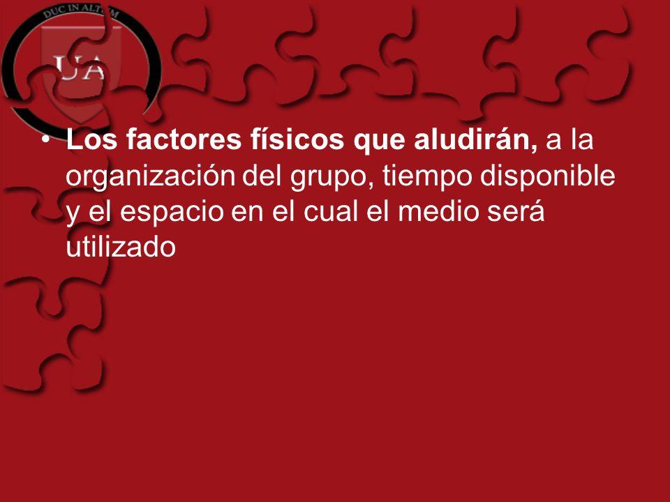 Los factores físicos que aludirán, a la organización del grupo, tiempo disponible y el espacio en el cual el medio será utilizado