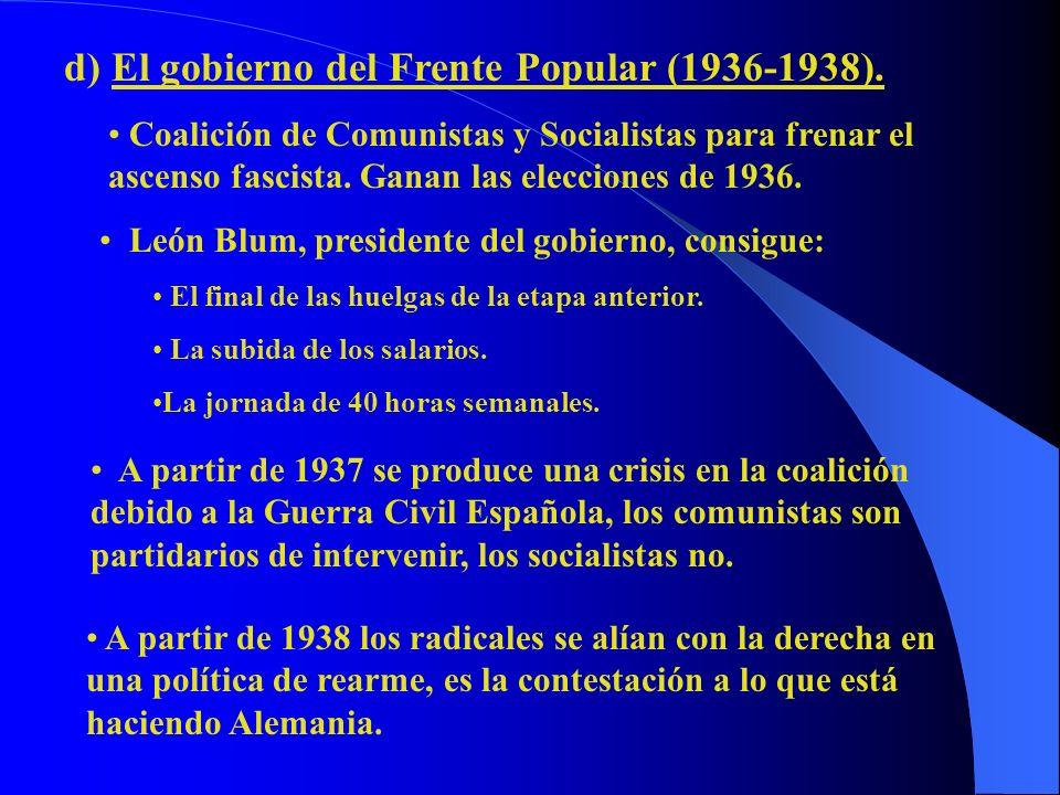 d) El gobierno del Frente Popular (1936-1938). Coalición de Comunistas y Socialistas para frenar el ascenso fascista. Ganan las elecciones de 1936. Le