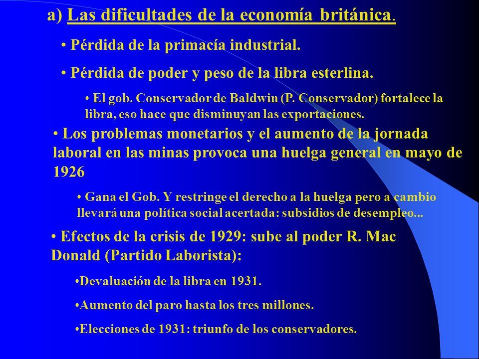 a) Las dificultades de la economía británica. Pérdida de la primacía industrial. Pérdida de poder y peso de la libra esterlina. El gob. Conservador de