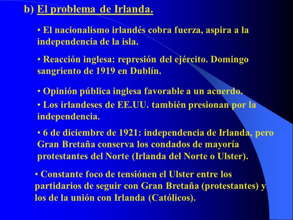 b) El problema de Irlanda. El nacionalismo irlandés cobra fuerza, aspira a la independencia de la isla. Reacción inglesa: represión del ejército. Domi