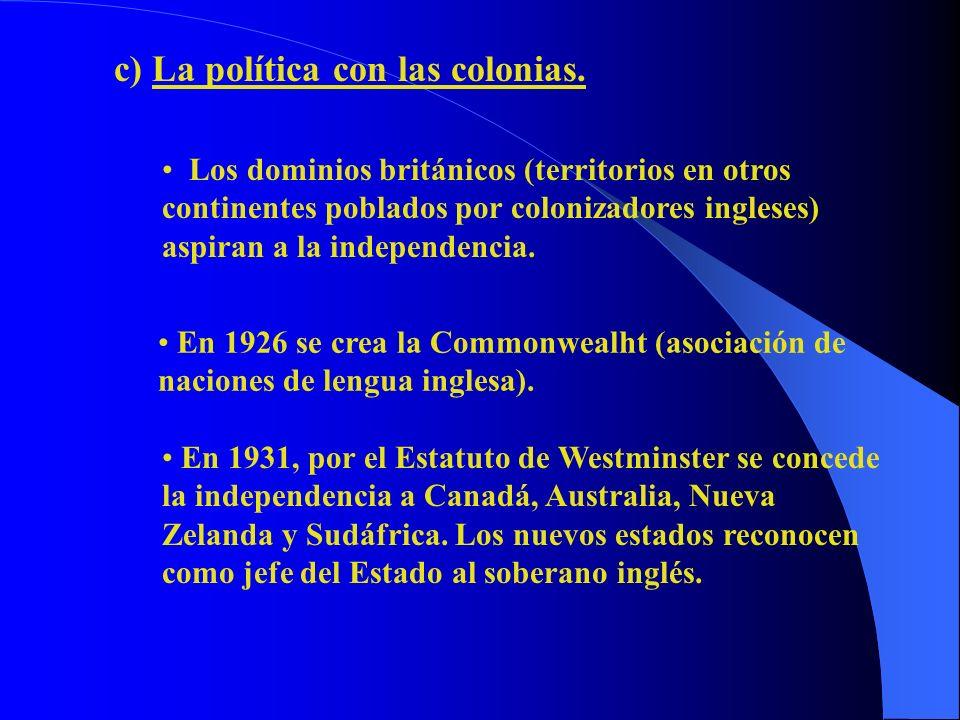 c) La política con las colonias. Los dominios británicos (territorios en otros continentes poblados por colonizadores ingleses) aspiran a la independe