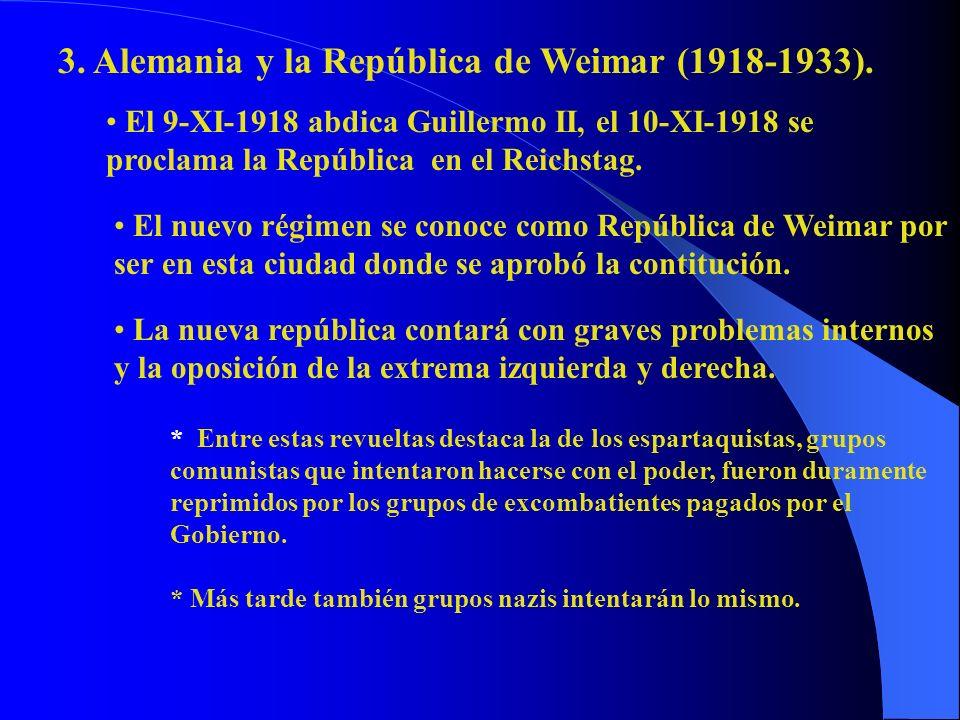 3. Alemania y la República de Weimar (1918-1933). El 9-XI-1918 abdica Guillermo II, el 10-XI-1918 se proclama la República en el Reichstag. El nuevo r