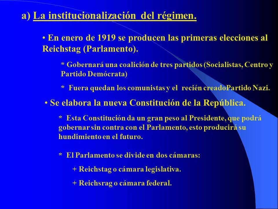 a) La institucionalización del régimen. En enero de 1919 se producen las primeras elecciones al Reichstag (Parlamento). * Gobernará una coalición de t