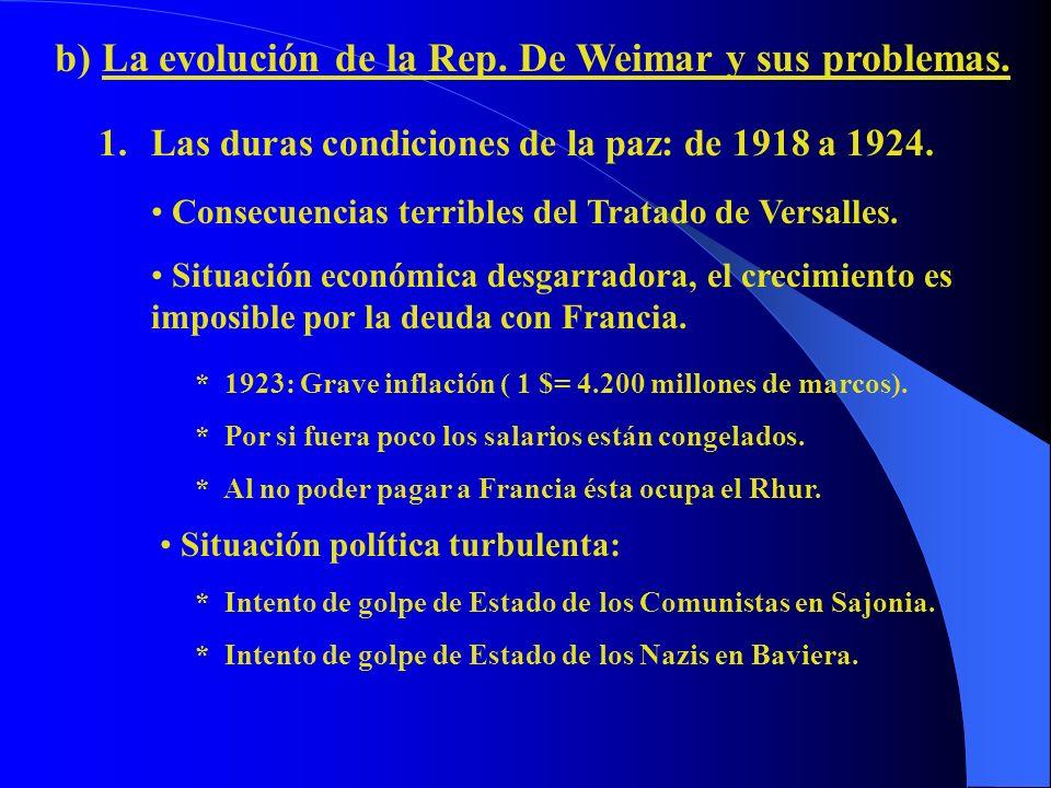 b) La evolución de la Rep. De Weimar y sus problemas. 1.Las duras condiciones de la paz: de 1918 a 1924. Consecuencias terribles del Tratado de Versal