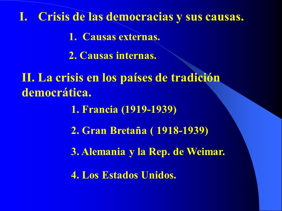 I.Crisis de las democracias y sus causas. 1. Causas externas. 2. Causas internas. II. La crisis en los países de tradición democrática. 1. Francia (19