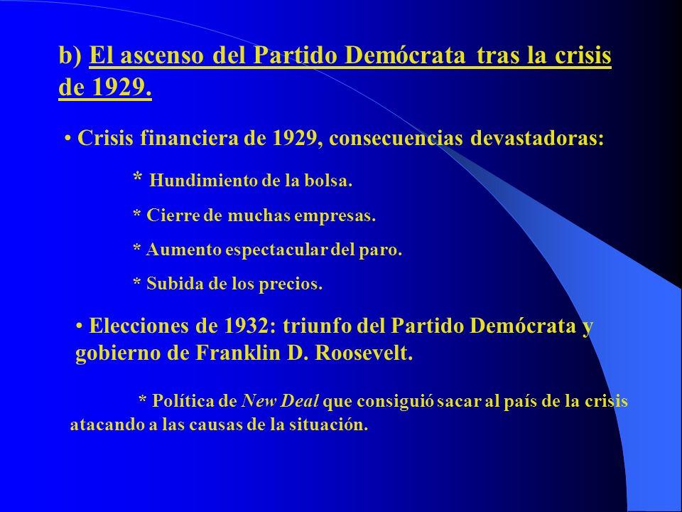 b) El ascenso del Partido Demócrata tras la crisis de 1929. Crisis financiera de 1929, consecuencias devastadoras: * Hundimiento de la bolsa. * Cierre