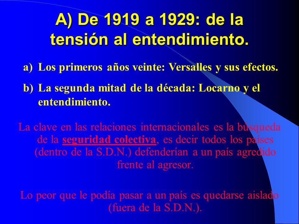 A) De 1919 a 1929: de la tensión al entendimiento. La clave en las relaciones internacionales es la búsqueda de la seguridad colectiva, es decir todos
